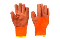 Перчатки акриловые утепленные 300# c полн.лат.покрыт. (оранжевые, корич.залив 50%)