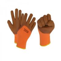 Перчатки акриловые утепленные 300# c вспененным.лат.покрыт. (оранжевые,корич.залив 25%)