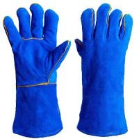 Перчатки Краги Синие замш. с двойной подкладкой, длин.35см