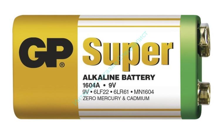"""Батарейка """"GP 6LR61 Super"""" (пленка) (1604А В) (9V) (крона)"""