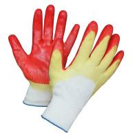 """Перчатки рабочие хб 13 класс с двойным латексным покрытием """"Люкс"""" Красные"""