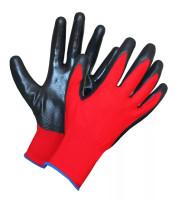 Перчатки рабочие нейлоновые 13 класс вязки с нитриловым обливом (цвет красно-черный) 5шт.