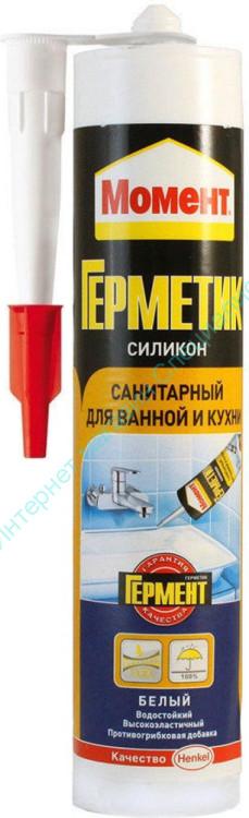 """Силикон """"Момент Герметик"""" санитарный для ванной и кухни герметик (белый), 280мл"""